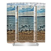 Geese Point Landing Triptych Shower Curtain