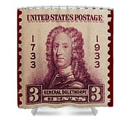 General James Oglethorpe Postage Stamp Shower Curtain