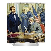 General Ulysses Grant Accepting The Surrender Of General Lee At Appomattox  Shower Curtain by Severino Baraldi
