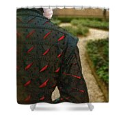 Gentleman In 16th Century Clothing On Garden Path Shower Curtain