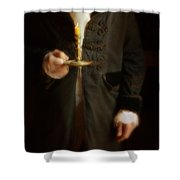 Gentleman In Vintage Clothing Holding A Candlestick Shower Curtain