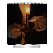 Gentleman In Vintage Clothing With Candlestick And Letters Shower Curtain