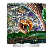 Geo Hearts Shower Curtain