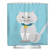 Geo Smiley Cat Shower Curtain