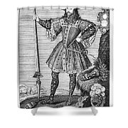 George Cumberland (1558-1605). George De Clifford Cumberland. 3rd Earl Of Cumberland. English Naval Commander And Courtier. Line Engraving, English, Early 19th Century Shower Curtain