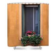Geraniums In A Yellow Window In Treviso Italy Shower Curtain
