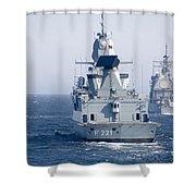German Frigate Ffg Hessen And Uss Shower Curtain