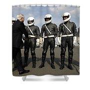 German Motorcycle Police Shake Hands Shower Curtain by Stocktrek Images