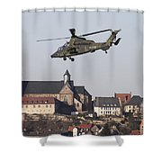 German Tiger Eurocopter Flying Shower Curtain