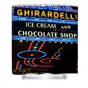 Ghirardelli Chocolate Signs At Night Shower Curtain