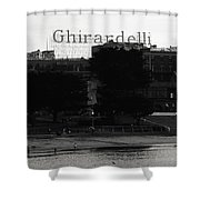 Ghirardelli Square In Black And White Shower Curtain by Linda Woods