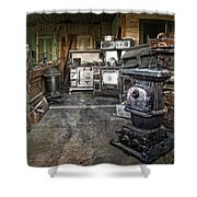 Ghost Town Stove Storage - Montana State Shower Curtain