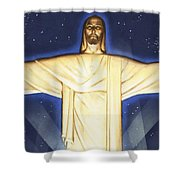 Giant Figure Of Christ Shower Curtain