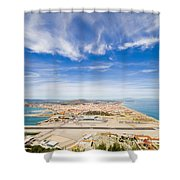 Gibraltar Airport Runway And La Linea Town Shower Curtain
