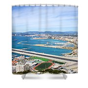 Gibraltar Runway And La Linea Cityscape Shower Curtain