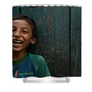 Giggles Against The Wall Shower Curtain