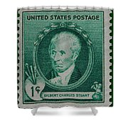 Gilbert Charles Stuart Postage Stamp Shower Curtain