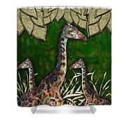 Giraffes In A Golden Forest Shower Curtain