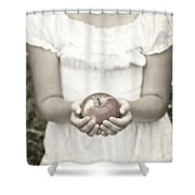 Girl And Apple Shower Curtain