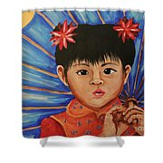 Girl And Umbrella Shower Curtain