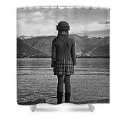 Girl At A Lake Shower Curtain