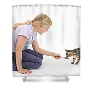 Girl Feeding Kitten From A Spoon Shower Curtain