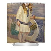 Girl In A Sailor Suit Shower Curtain