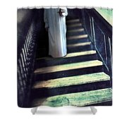 Girl In Nightgown On Steps Shower Curtain
