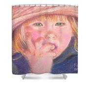 Girl In Straw Hat Shower Curtain by Julie Brugh Riffey