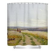 Girl In The Fields   Shower Curtain