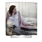 Girl In The Surf Shower Curtain