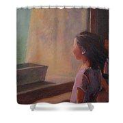 Girl In Window Shower Curtain