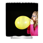 Girl Inflating Balloon Shower Curtain