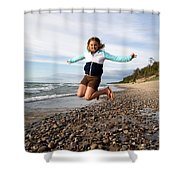 Girl Jumping At Lake Superior Shore Shower Curtain