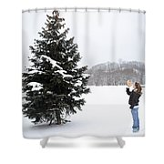 Girl Measuring Tree Height Shower Curtain