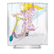 Girl On A Microscooter Cartoon Shower Curtain