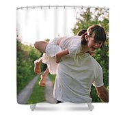 Girl On Fathers Shoulder Shower Curtain by Michelle Quance