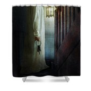 Girl On Stairs With Lantern And Keys Shower Curtain
