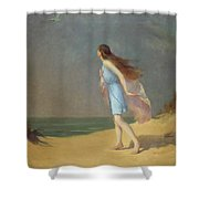 Girl On The Beach  Shower Curtain by Frank Richards
