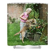 Girl Playing With Dog Shower Curtain