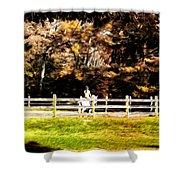 Girl Riding Horse Shower Curtain