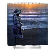 Girl Watching The Sun Go Down At The Ocean Shower Curtain