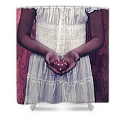 Girl With A Heart Shower Curtain