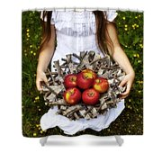 Girl With Apples Shower Curtain