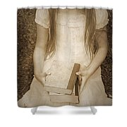 Girl With Books Shower Curtain