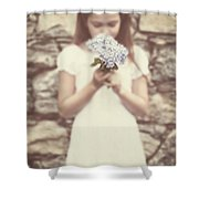 Girl With Hydrangea Shower Curtain