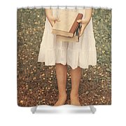 Girl With Old Books Shower Curtain
