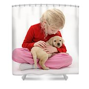 Girl With Puppy Shower Curtain
