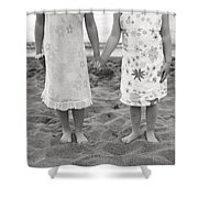 Girls Holding Hand On Beach Shower Curtain by Michelle Quance