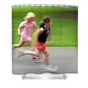 Girls Running Shower Curtain